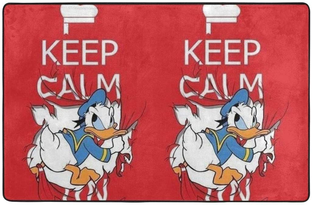 Large Soft Flannel Area Rug Anti- Skid Keep Calm Donald Duck Carpet Bedroom Kids Room Mat Home Decor- 60 X 39 in