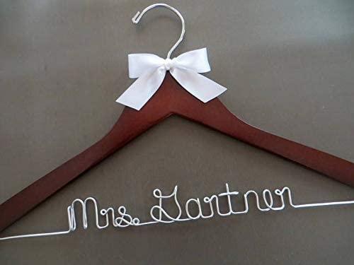 Flowershave357 Wedding Dress Hanger Bridal Hanger Personalized Name Hanger Bride Hanger Bridesmaid Gift Idea Engagement Gift Wire Wedding Hanger