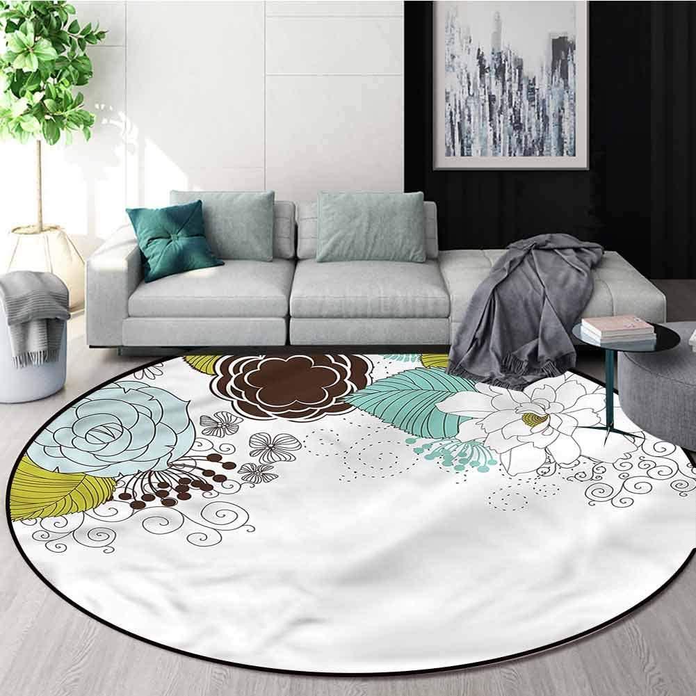 Spring Washable Creative Modern Round Rug,Ornamental Florets Blossoms Non-Slip Living Room Soft Floor Mat Round-35