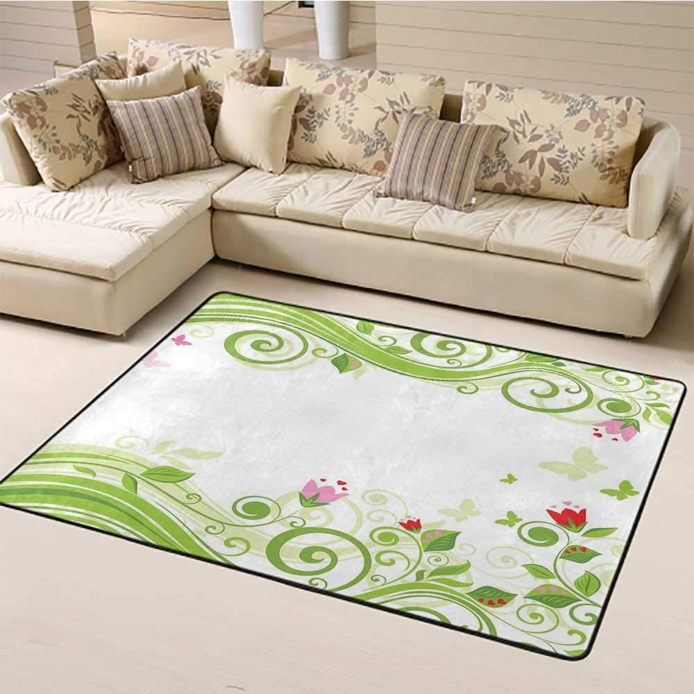 Green Flower Kids Rug 6' x 9', Blossoming Abstract Elements Swirls Springtime Foliage Illustration Kids Carpet, Lime Green Pink Red