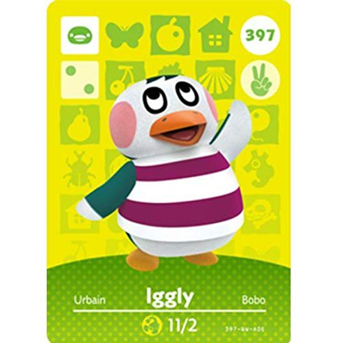 BestTom No.397 Iggly ACNH Animal Villager Card Fan Made.Third Party NFC Card Bank Card Size Water Resistant for Switch/Switch Lite/Wii U
