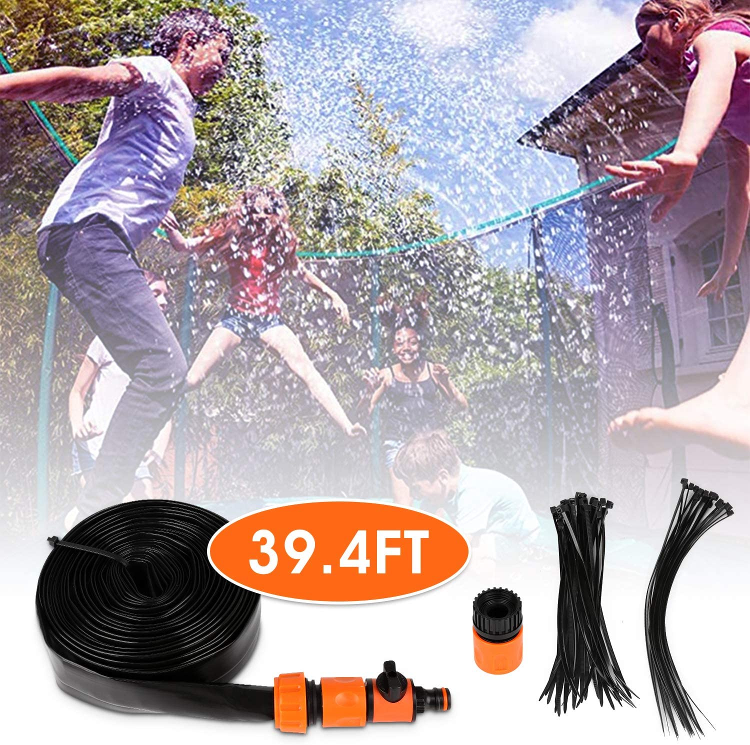 Trampoline Sprinkler, Summer Outdoor Backyard Water Fun, Spary Water Play Game Sprinklers for Kids Outdoor Spary Water Park Outdoor Misting Cooling System with Special Hole to Easy Installation (39FT)