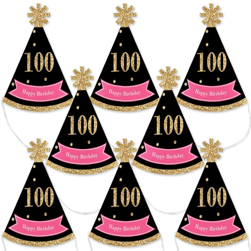 Big Dot of Happiness Chic 100th Birthday - Pink, Black and Gold - Mini Cone Birthday Party Hats - Small Little Party Hats - Set of 8
