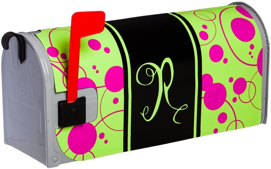 Evergreen Flag Monogram Peppy Pink Glow In The Dark Magnetic Mailbox Cover - R