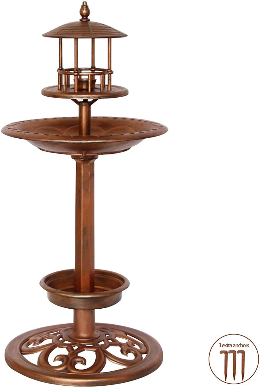 Keygift BirdBaths for Outdoors, Hard Plastic Hand-Painted Antique Copper Pedestal Bird Bath for The Garden, Bird Feeder Bowl/Birdbath Bowl/Planter 3-in-1, 26 Inches High