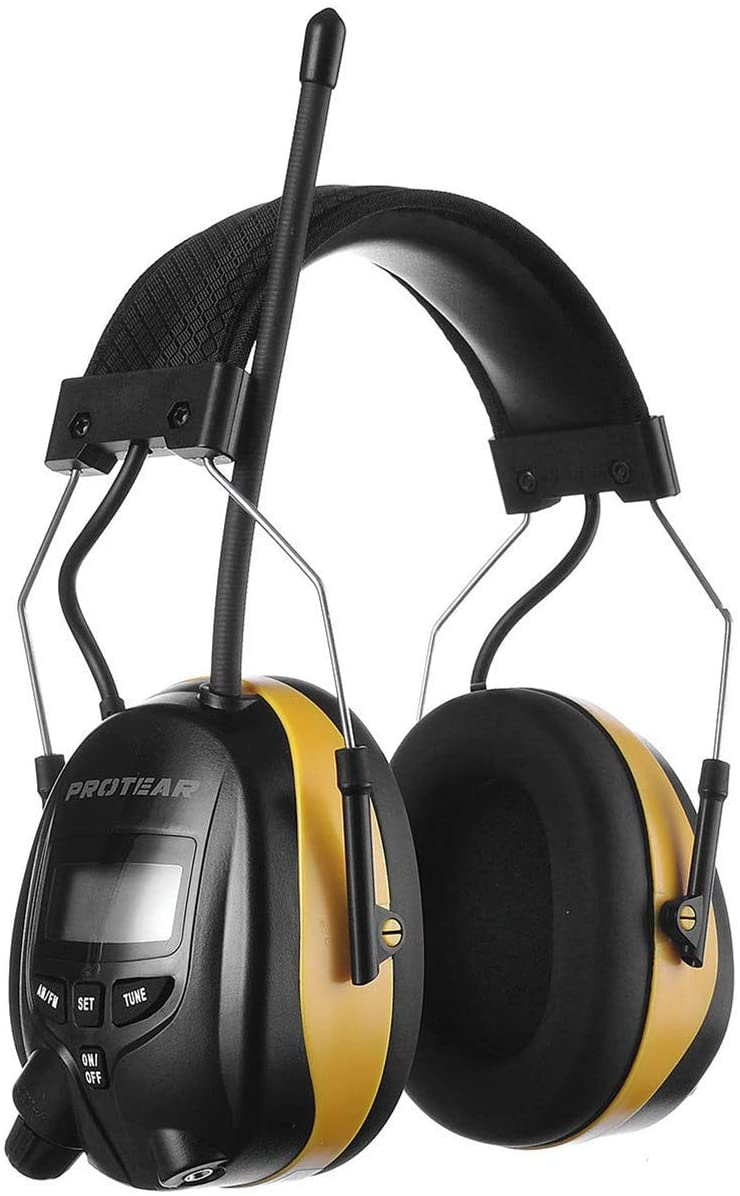 PROTEAR Digital AM FM Radio Headphones, Electronic Ear Protection Noise Reduction Safety Ear Muffs, Comfortable Hearing Protector for Lawn Mowing and Landscaping(Yellow)