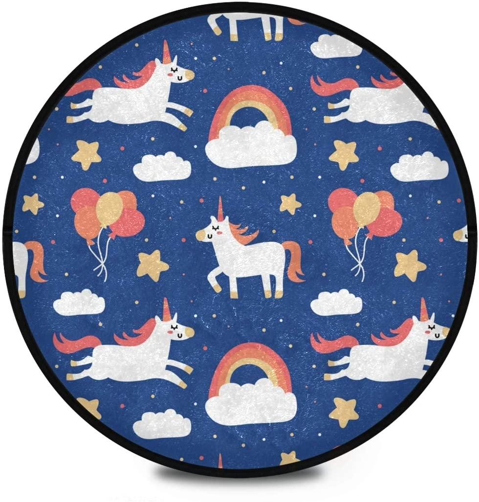 Shaggy Round Mat Cute Unicorn Round Rug for Kids Bedroom Anti-Slip Rug Room Carpets Play Mat