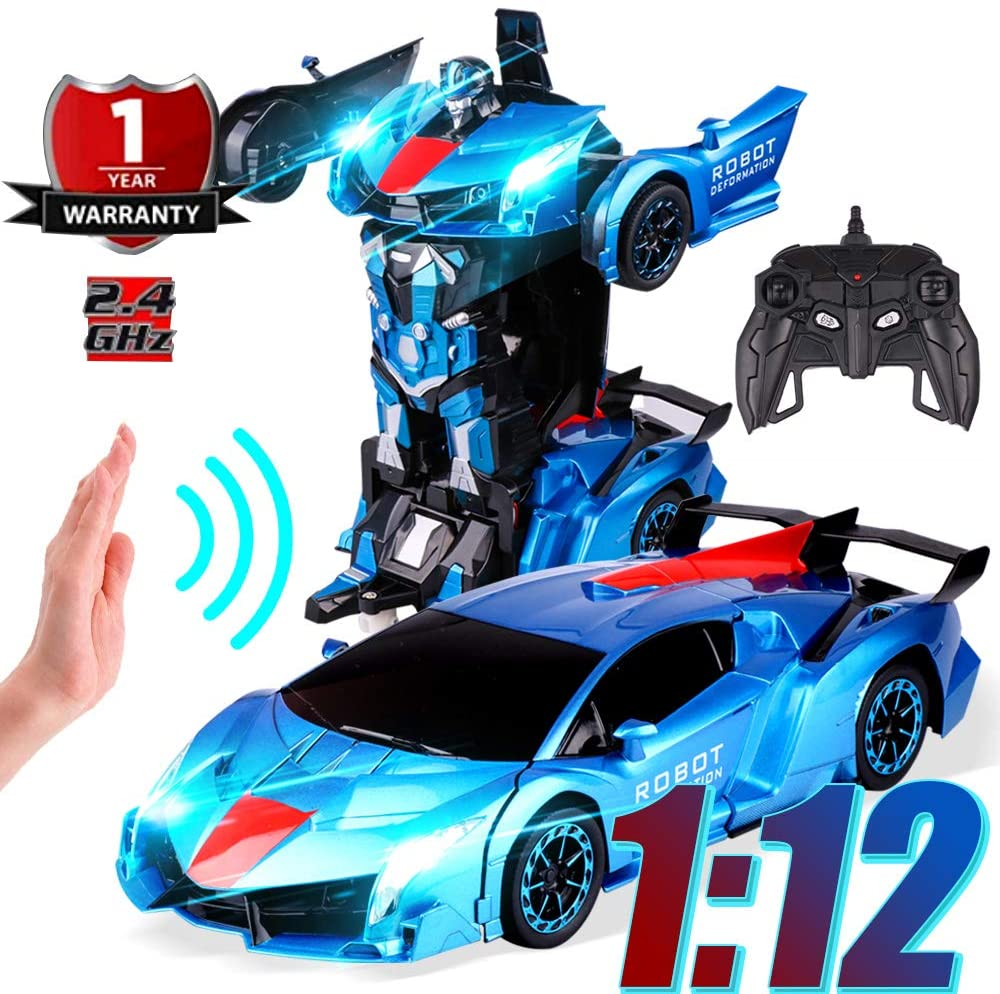 Vanskee 1:12 RC Deformable Car Robot,One-Click and Induction Deformation,Auto Demo,Exciting Voice Cool Light,2.4GHz Remote Control Car for Boys Girls,Blue