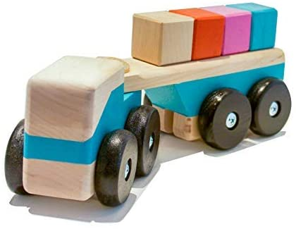intelblox Magnetic Truck Loader Wooden Toy Set, Cars & Trucks, Helps Develop Motor Skills, 4 Magnetic Wood Blocks and 1 Semi-Trailer Truck.