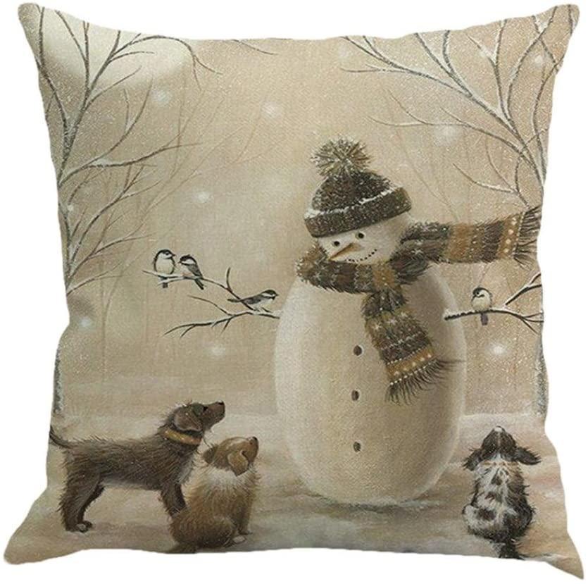 AmyDong Christmas Multicolor Printed Pillowcase Happy Christmas Pillow Cases Linen Sofa Cushion Cover Home Decor Multicolor Pillow Case (A)