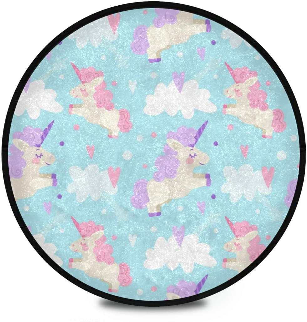 Shaggy Round Mat Cute Unicorn Clouds Small Round Rug for Kids Playroom Anti-Slip Rug Room Carpets Play Mat
