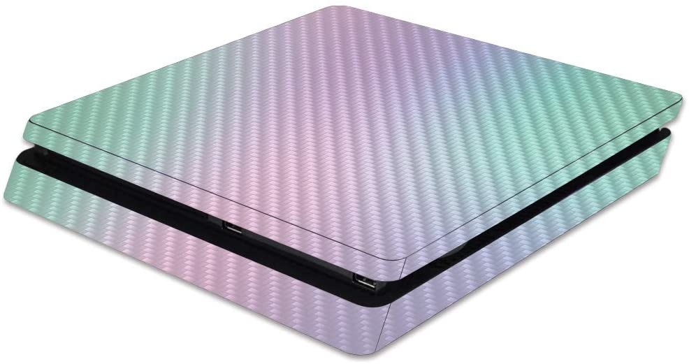 MightySkins Carbon Fiber Skin for Sony PS4 Slim Console - Cotton Candy | Protective, Durable Textured Carbon Fiber Finish | Easy to Apply, Remove, and Change Styles | Made in The USA