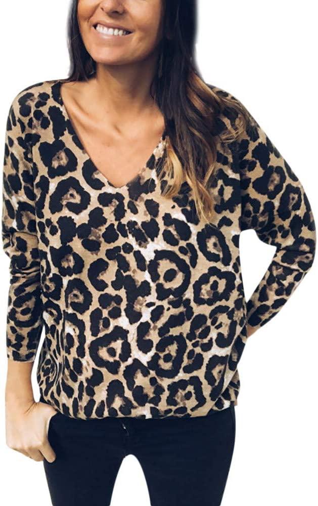 T-shirt for Women THENLIAN Women Plunge V Neck Leopard Print T-shirt Top Long Sleeve Autumn Blouse (Multicolor, L)