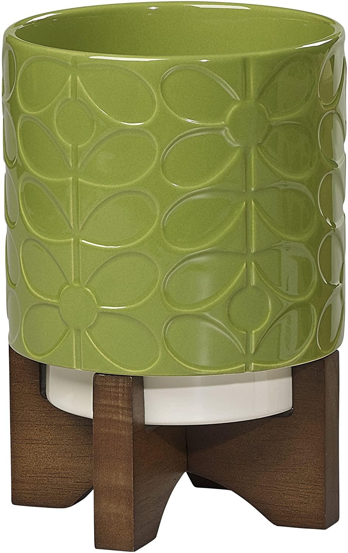 Orla Kiely | 60's Stem | Small Ceramic Plant Pot with Stand | Green