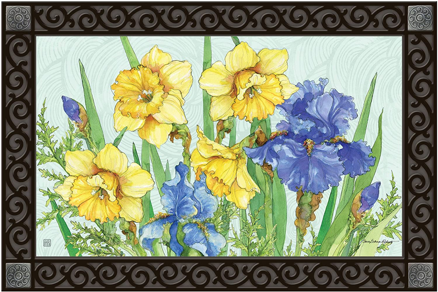 Studio M MatMates Daffodils and Irises Decorative Floor Mat Indoor or Outdoor Doormat with Eco-Friendly Recycled Rubber Backing, 18 x 30 Inches