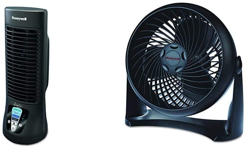 Honeywell HTF210B Quiet Set Personal Table Fan & HT-900 TurboForce Air Circulator Fan Black