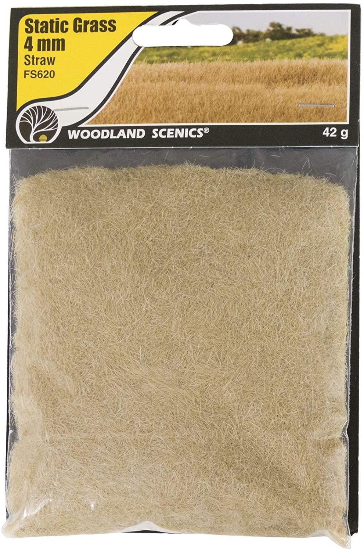 Woodland Scenics FS620 Static Grass, Straw Green 4mm