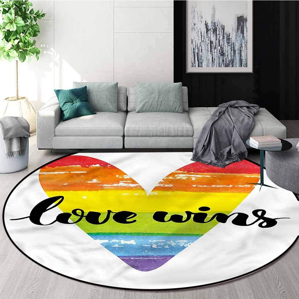 RUGSMAT Pride Round Rugs for Bedroom,Gay Marriage Sign Non-Slip Soft Floor Mat Home Decor Round-24