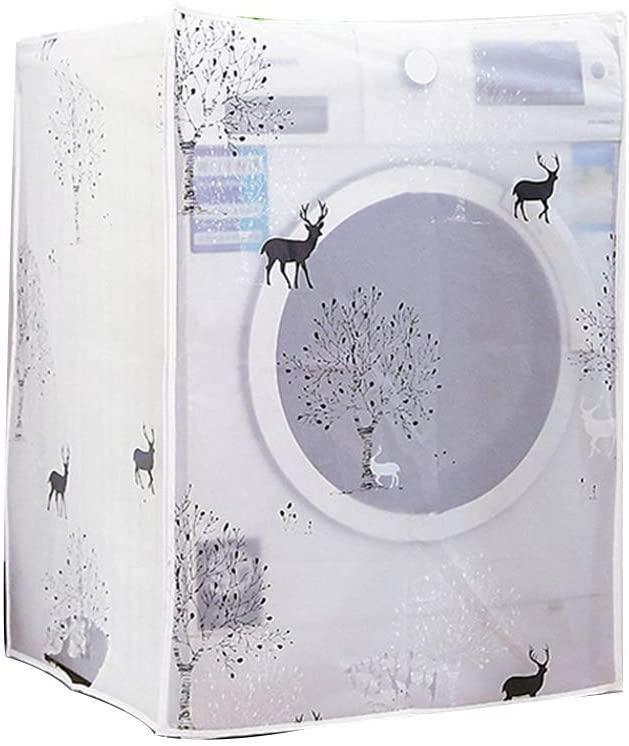 1PC Washing Machine Cover Waterproof Transparent Flower Pattern Washing Machine Zippered Dust Cover Universal Sunscreen Washing Machine Cover (Fawn)