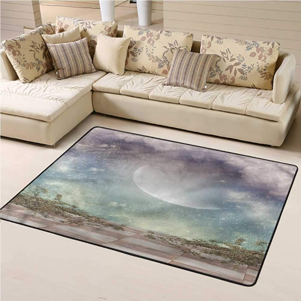 Rugs Mystic, Star Filled Landscape Space Kids Dorm Floor Mat for Kids Nursery 6 x 9 Feet