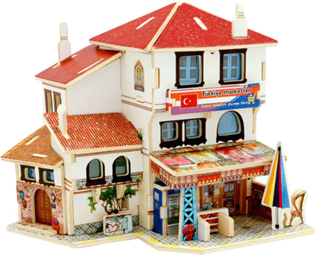 Yamix 3D Wooden Puzzle DIY 3D Puzzle House Model World Architectural House Building Kit Jigsaw Puzzles Gifts for Boys and Girls (Turkish Convenience Stores)