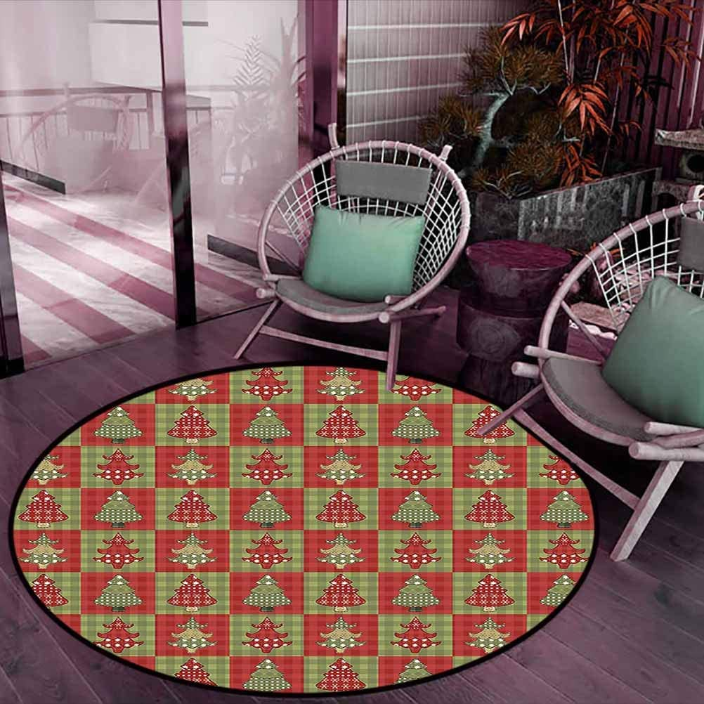 Carpet Different Styled Noel Trees on Checkered Squares Background Vintage Quilt Kids Play Rug for Bedroom Living Room Ruby Reseda Green Diameter - 2 Feet