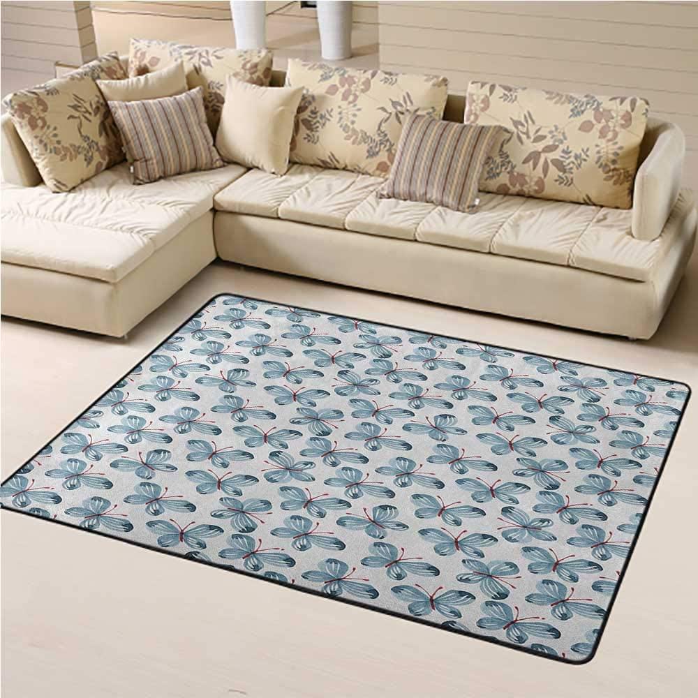 Kids Rug Butterfly Soft Indoor Mat Decorative Carpet Original Butterfly Motif Look Floral Vintage Colors Lovely Creature Illustration 3 x 5 Ft Blue Red