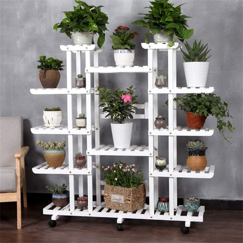 PLLP Home Plant Stand,Anti-Corrosion Multi-Storey Wooden Display Racks/Garden Decoration Wooden Shelving with Tiers Solid Wood Flower Pot Standsfor Living Room Flower Shelf Indoor and Outdoor Floor