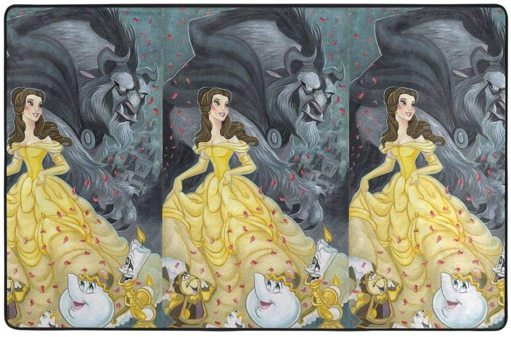 Large Soft Flannel Area Rug Anti- Skid Beauty and The Beast Carpet Bedroom Kids Room Mat Home Decor- 60 X 39 in