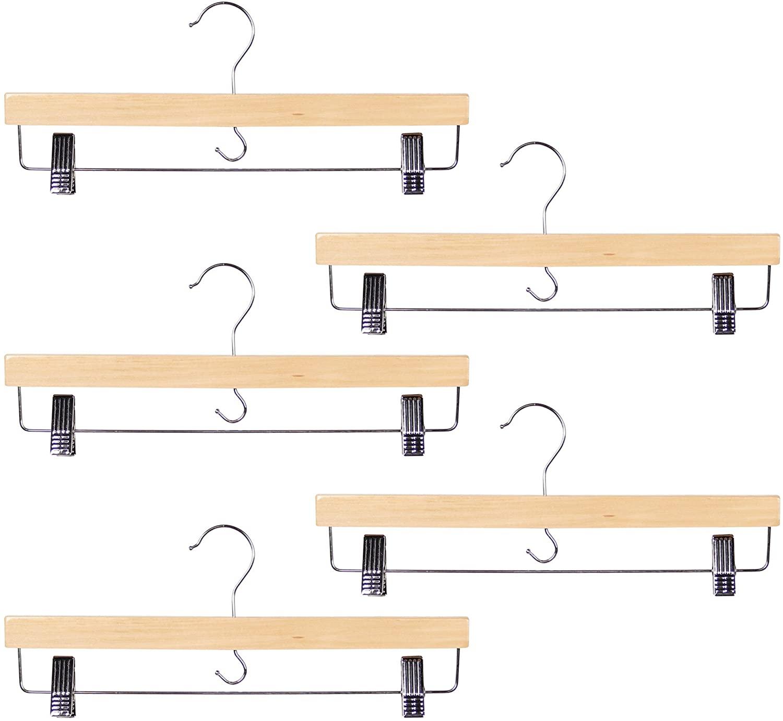 Richards Homewares Skirt/Trouser Hanger, 5-Piece Set, Wood-Blond