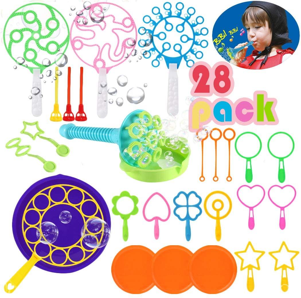 Fansport Bubble Wands Set Bubble Party Pack Bulk, Funny Colorful Bubble Toy Bubble Making Toys for Outdoor, Big Bubble Wands Bulk Bubble Making kit for All Age People Bubbles Party Favors Supplies