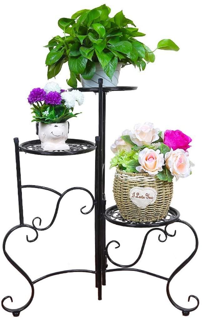 QNN Plant Stands,Pot Rack Flower Stand - Wrought Iron Balcony Living Room Multi-Layer Flower Pot Shelf Interior Decoration Floor-Standing Modern Plant Stand(60 60 76Cm) Decorative Flower Pots,a