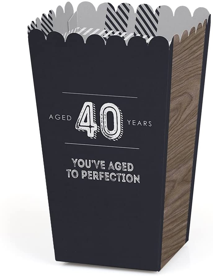 40th Milestone Birthday - Dashingly Aged to Perfection - Birthday Party Favor Popcorn Treat Boxes - Set of 12