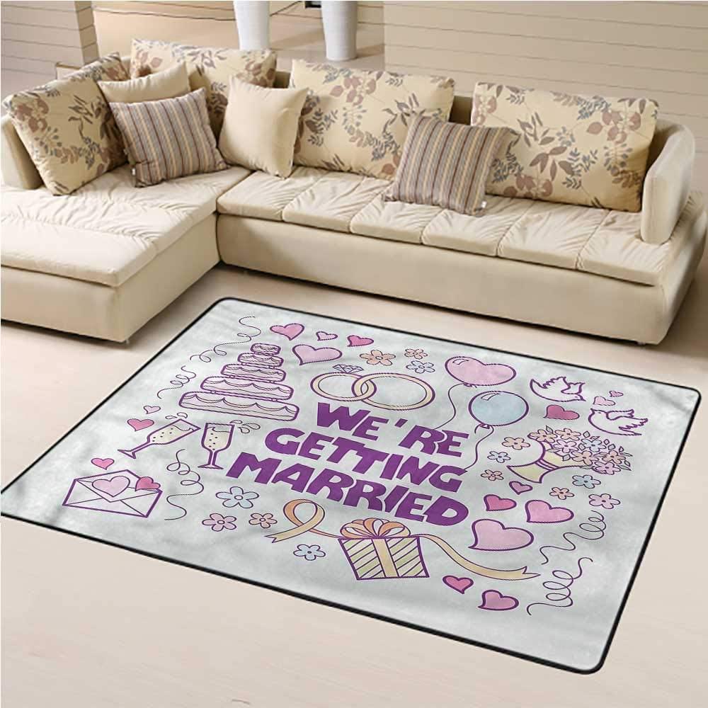 Carpet Wedding, Happy Collection Doves Non-Slip Kids Carpet for Living Room Bathroom Enterway 4 x 6 Feet