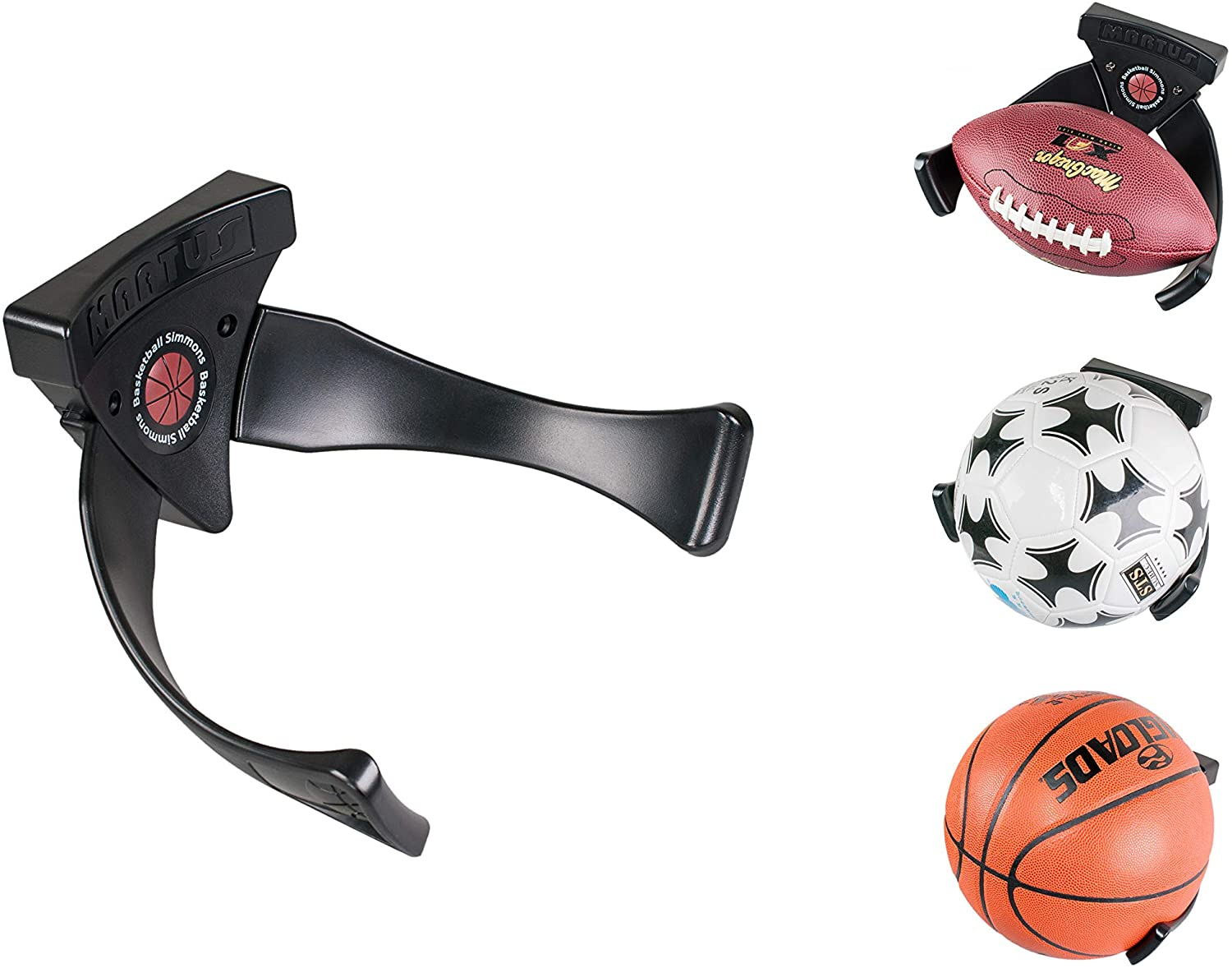 Tansato Wall Mounted Ball Claw, Basketball Football Soccer Volleyball Sports Ball Holder Space Saver Display, Ball Storage & Decoration Shelf, Black