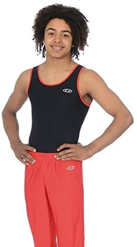 The Zone Z887ACE Round Neck Boys/Mens Sleeveless Gymnastics Leotard. Matt Nylon/Lycra Black/Red Size 40