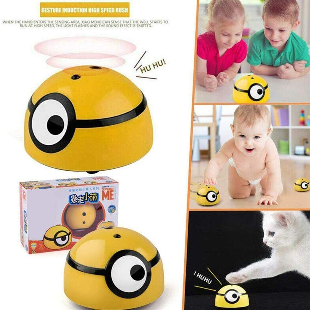 Mini Children Induction Toy, Intelligent Cute Runaway Little Yellow Man Toy with Spinning Led Light and Lively Sound for Kids Run Away Toy