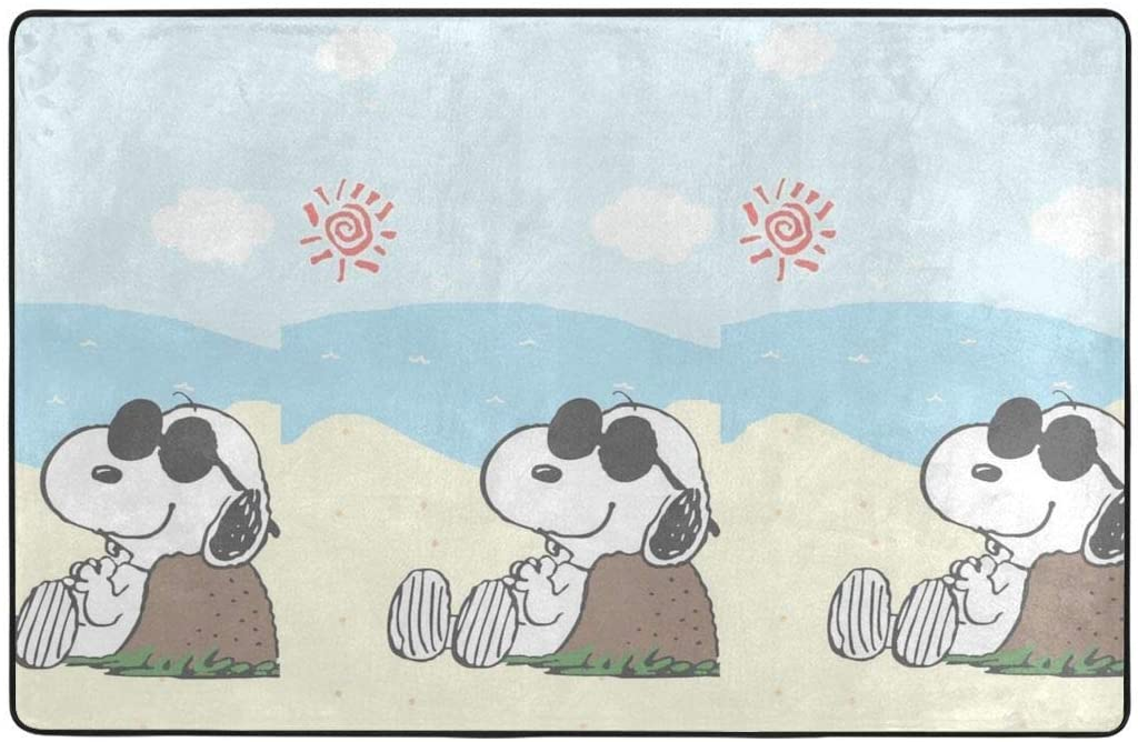 Large Soft Flannel Area Rug Anti- Skid Leisurely Snoopy Carpet Bedroom Kids Room Mat Home Decor- 60 X 39 in