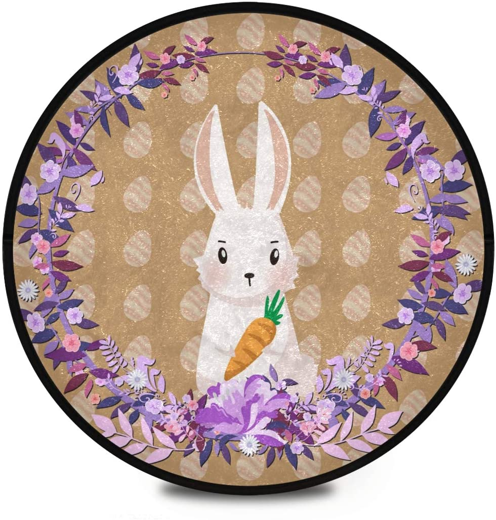 Shaggy Round Mat Easter Bunnies and Eggs Small Round Rug for Kids Bathroom Anti-Slip Rug Room Carpets Play Mat