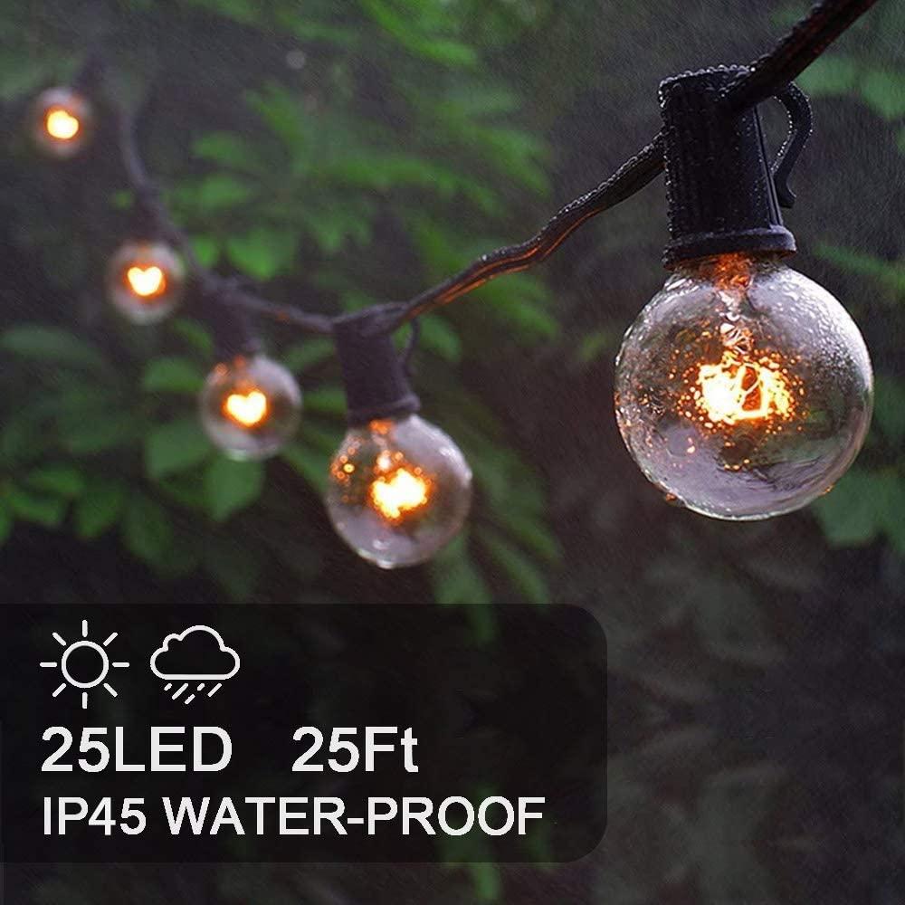 25Ft led Globe String Lights, IP45 Waterproof Lights String Light Bulb 1W 2700K Warm White for Home,Garden,Terrace,Party,Christmas,Wedding,WarmWhite