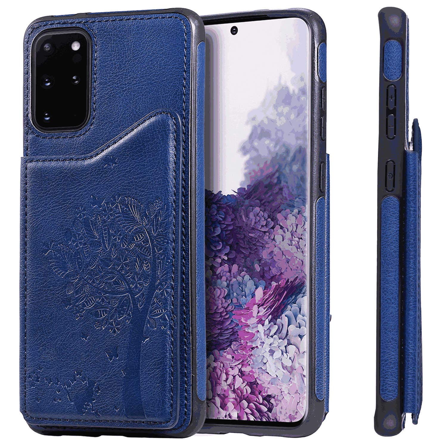 PU Leather Flip Cover Compatible with Samsung Galaxy S10, Elegant Blue Wallet Case for Samsung Galaxy S10