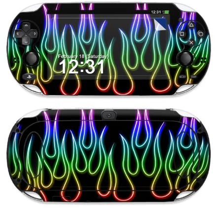 PS Vita Skin Sticker - Rainbow Neon Flames - High quality precision engineered removable decal vinyl skin sticker wrap for the Sony Playstation PS Vita PSV (model PCH-1000 series) released in 2012