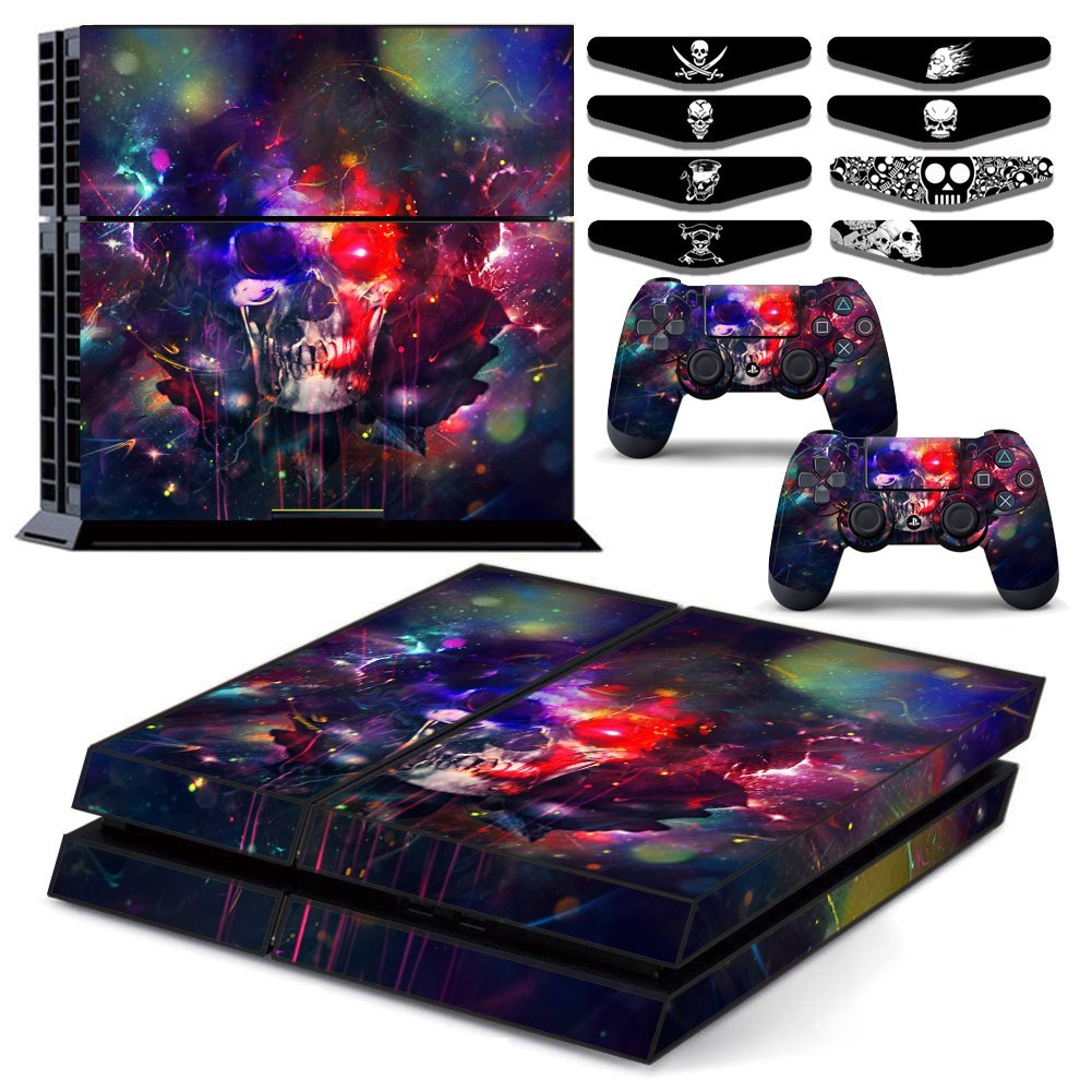 Skull Art Vinyl One PS4 Console Skin & Two Play Station 4 DualShock 4 Controller Decal Cover & Eight LED Light Bar Sticker Set for Sony Playstation 4