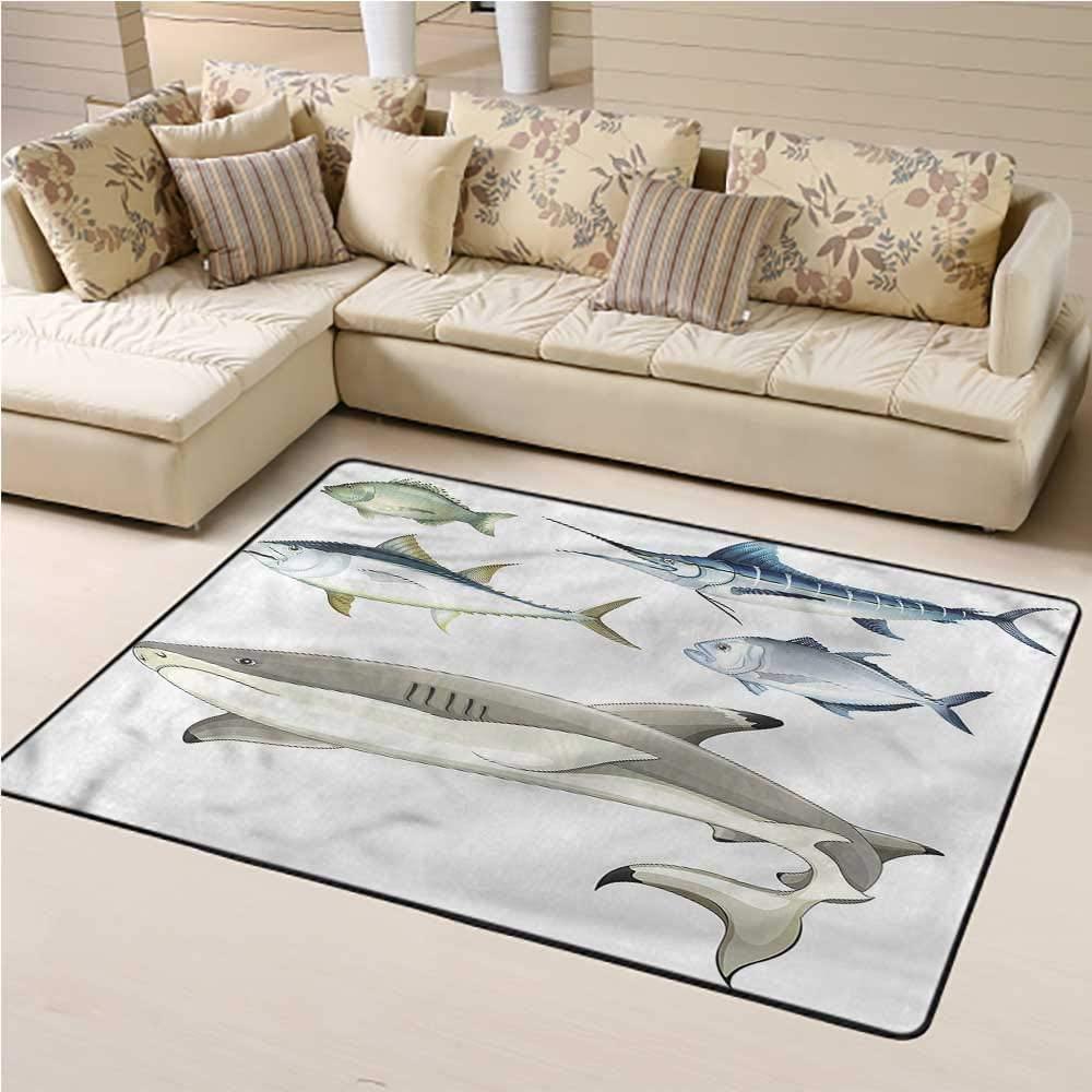 Indoor Outdoor Carpet Aqua Kids Play Rug Collage of Aquatic Animal 5' x 8' Rectangle