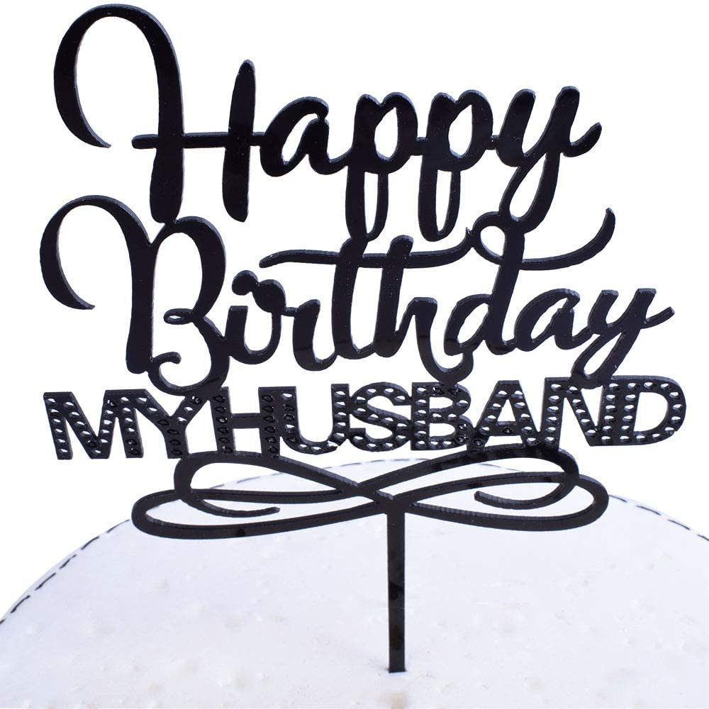 SHAMI Black Happy birthday husband cake topper - Adult Birthday Party Decoration Supplies