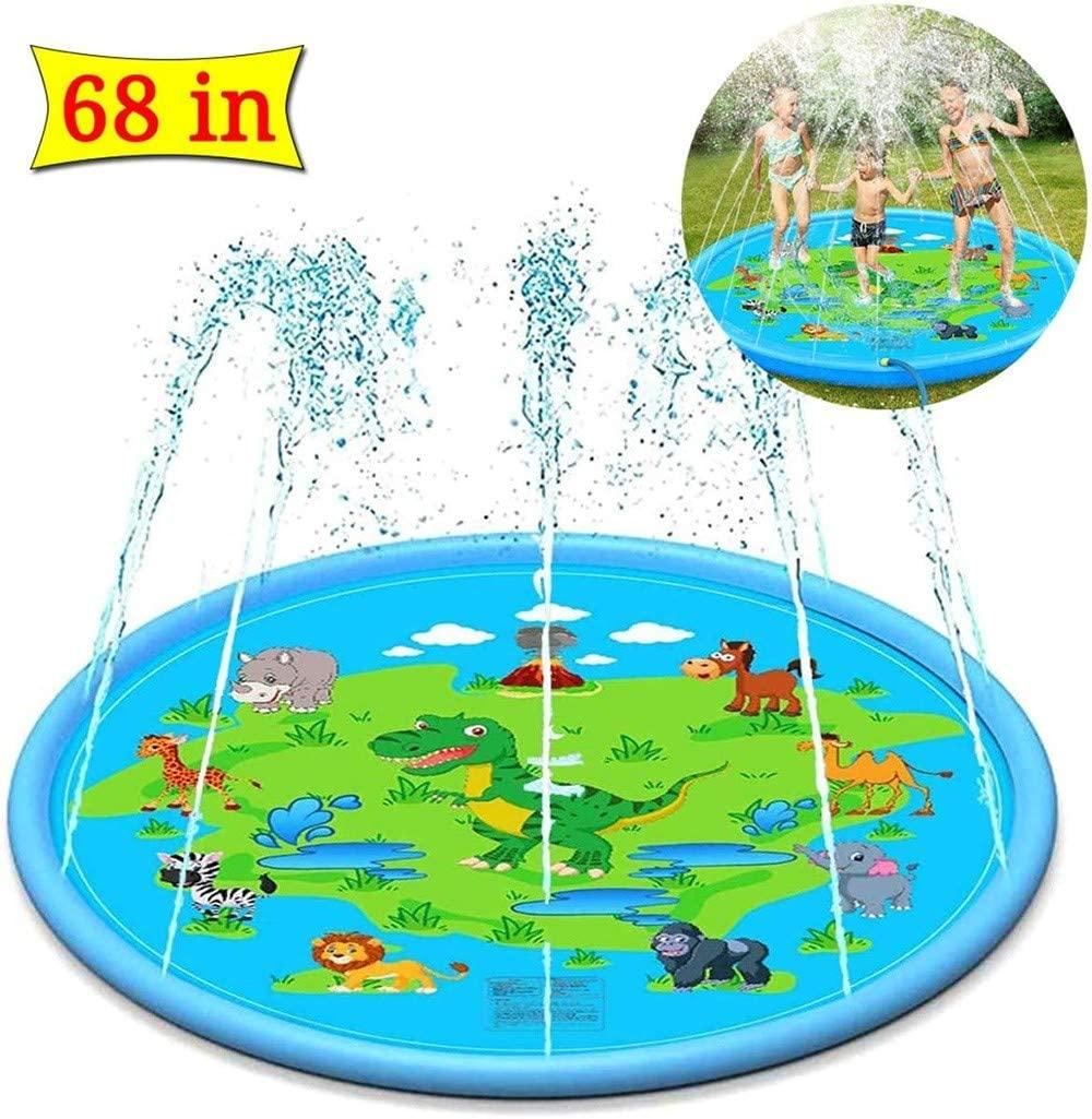 Sprinkler and Splash Pad,67.2 inch/170cm Summer Splash Play Mat Anti-Slip Outdoor Water Play Sprinklers Summer Sprinkle Wading Pool, Sprinkler for Kids/Toddlers/Babies/Pets