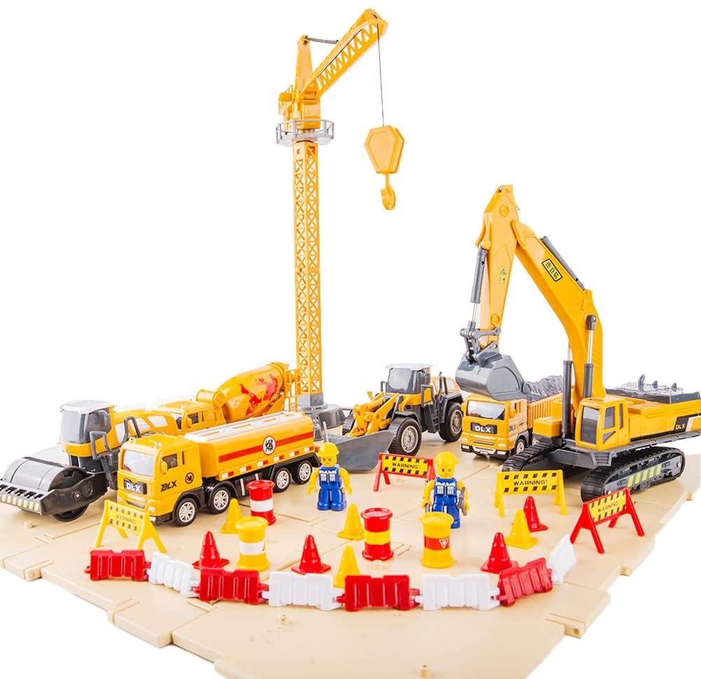 TGRCM-CZ Kids Engineering Playset, Construction Vehicle Play Set, Excavator, Trucks, Bulldozer, Trailer, Toys for Kids Boys Girls Gift 2 3 4 5 6 7 Years
