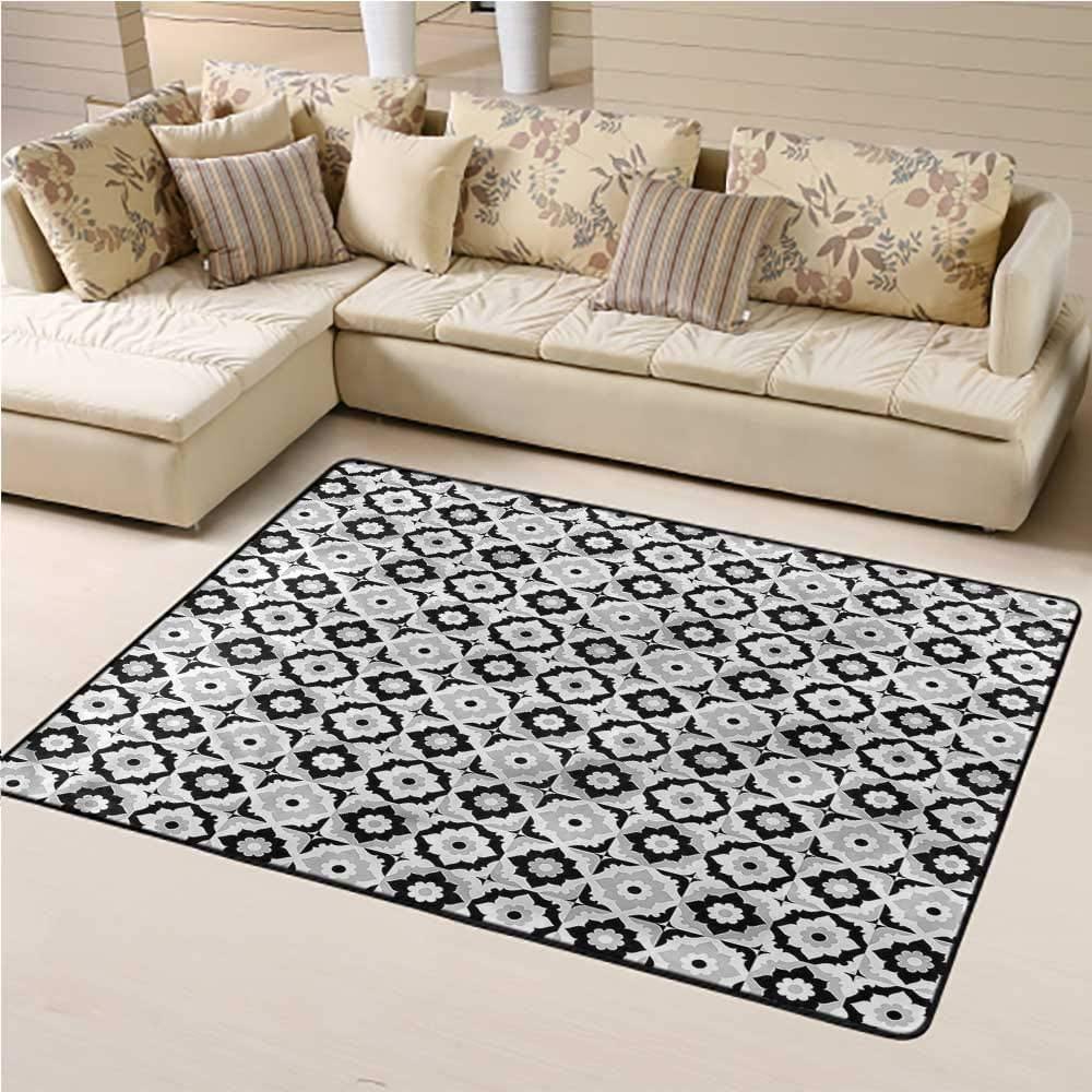 Carpet Quatrefoil, Monochrome Daisies Decorative Floor Rugs for Boys Kids Room Living Room Home Decor 6 x 9 Feet
