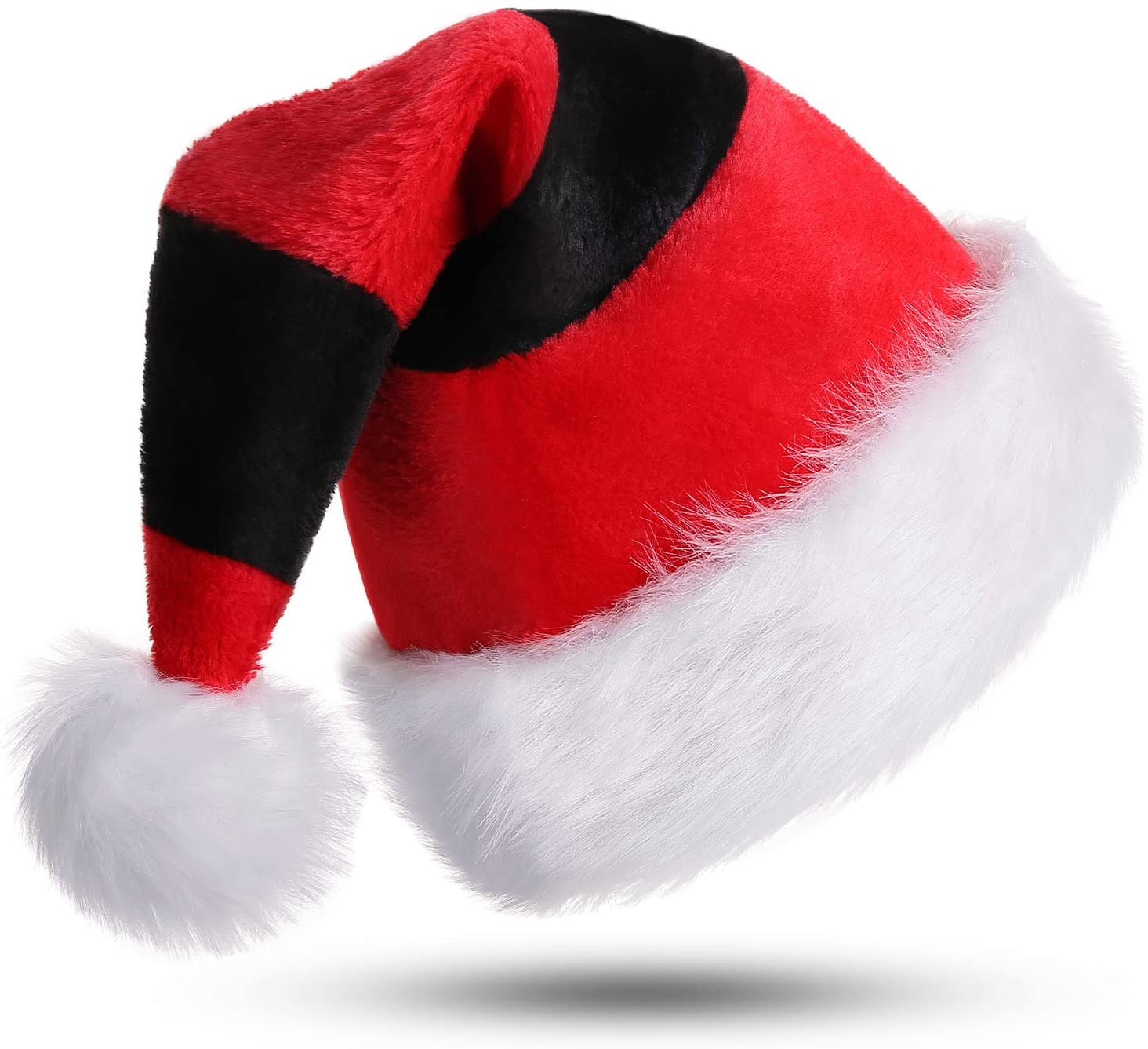 Phyxin Santa Hat Christmas Hat for Adults Stripe Santa Hats for Adults Luxury Plush Hat Classic Christmas Hats for Women Men Unisex Santa Claus Hats Xmas Caps Decoration Red&Black
