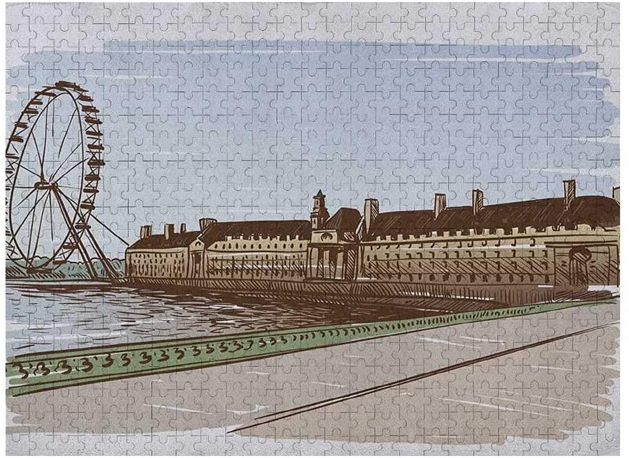 GugeABC London 3D Puzzle 500 Piece, Buckingham Palace Historical Building Thames River Ferris Wheel Pencil Drawing Art, Multicolor